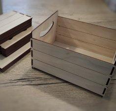 Laser Cut Wooden Hamper Crate Toy Box Hamper Crate Gift Box Free Vector