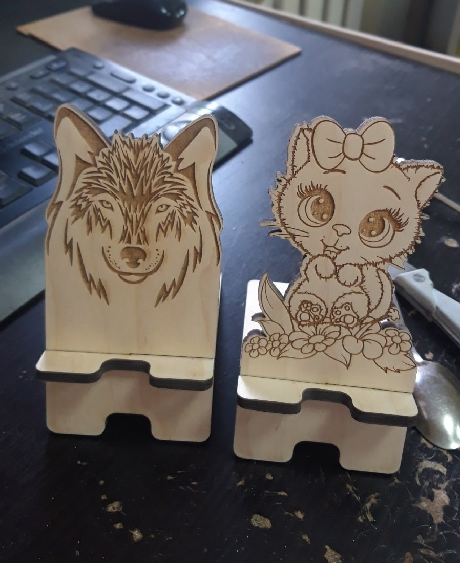 Laser Cut Wooden Phone Stand Creative Cute Phone Holder Free Vector