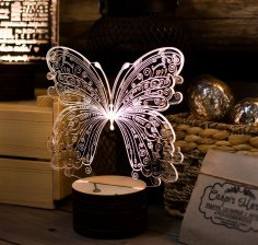 Laser Cut Decorative Butterfly Acrylic Lamp Free Vector