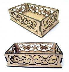 Laser Cut Decorative Wooden Basket DXF File