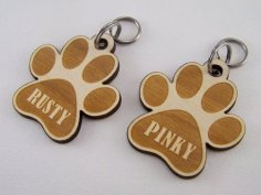 Laser Cut Engraved Dog Paw Keychain Free Vector