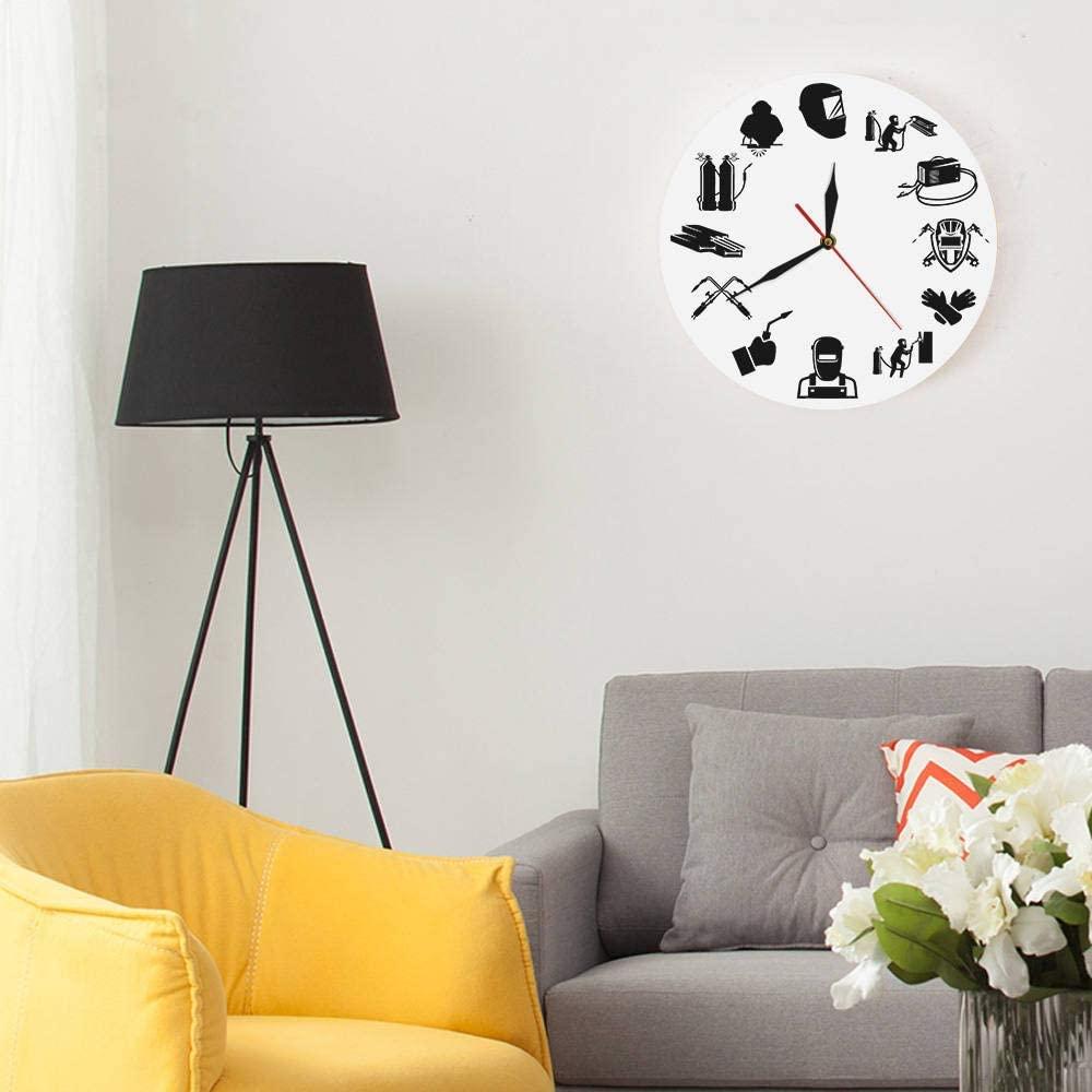 Laser Cut Welding Wall Clock Welder Silhouette Modern Wall Clock Free Vector
