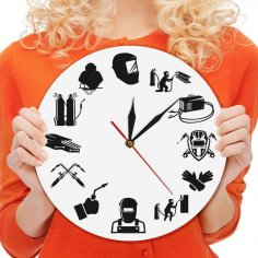Laser Cut Welding Wall Clock Welder Silhouette Modern Wall Clock Free Vector