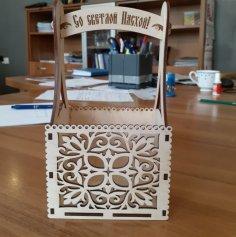 Laser Cut Wooden Decor Easter Basket Free Vector