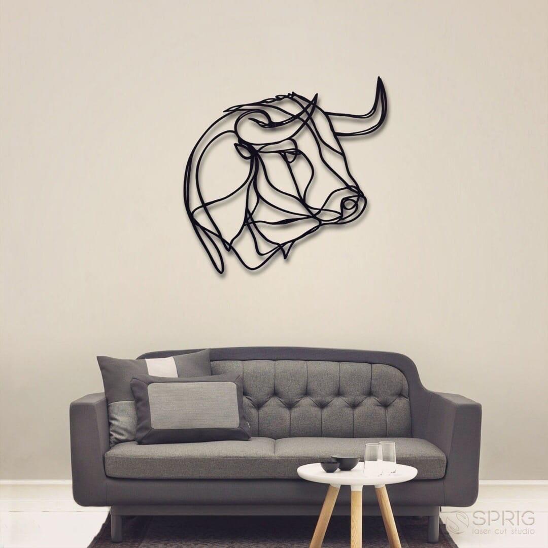 Laser Cut Buffalo Bull Wall Decor Free Vector