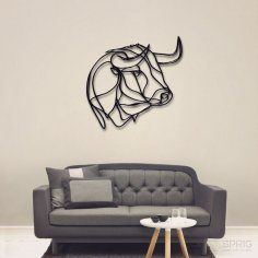 Laser Cut Buffalo Bull Wall Decor Free Vector