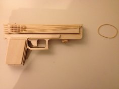 Laser Cut Semiautomatic Rubber Band Gun Free Vector