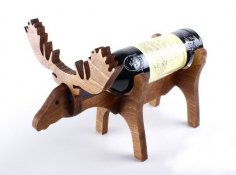 Laser Cut Deer Wine Bottle Stand 10mm Free Vector