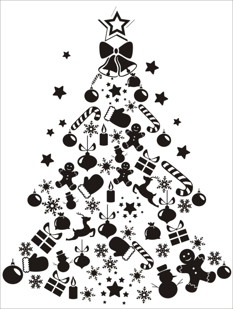 Laser Engraving Christmas Tree Ornament Free Vector