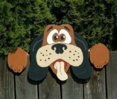 Laser Cut Wooden Dog Fence Peeker Free Vector