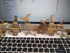 Laser Cut Deer Christmas Tree Ornaments Free Vector