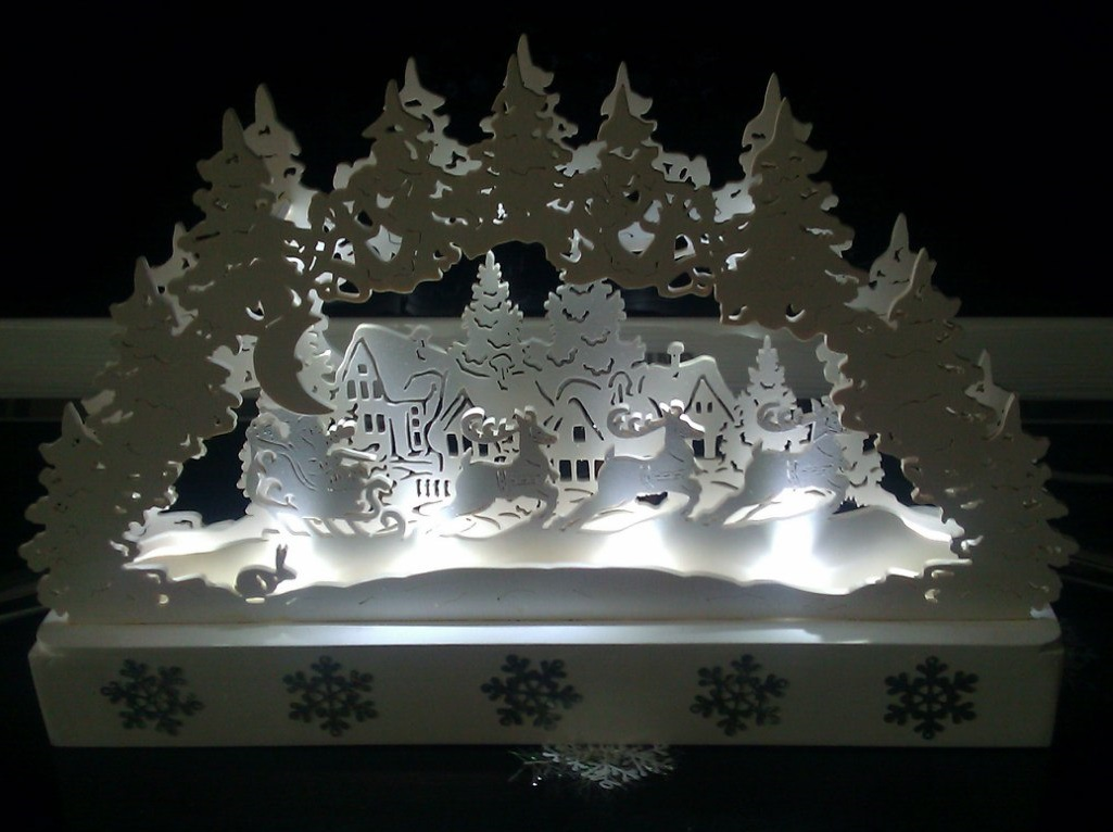 Laser Cut Christmas Scene Decorations Night Lamp Holiday Decorations PDF File