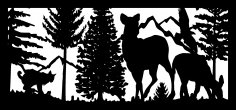 28 X 60 Bobcat Two Doe Eagle Mountains Plasma Art DXF File
