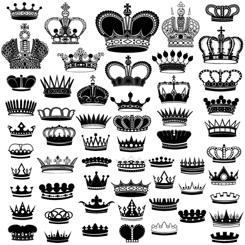Collection of Crown Silhouette Free Vector