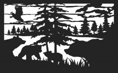 30 X 48 Bears Quail Lake Cattails Plasma Art DXF File