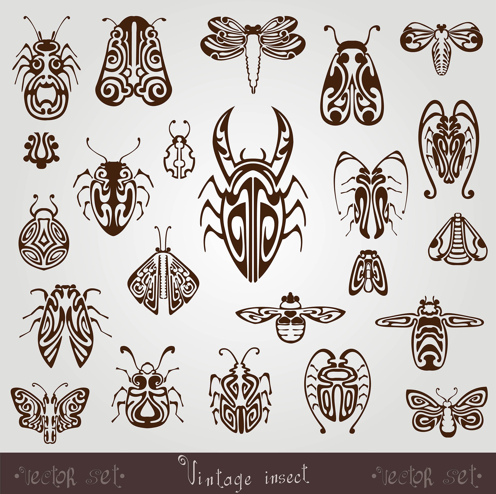 Vintage Insect Silhouette Set Free Vector