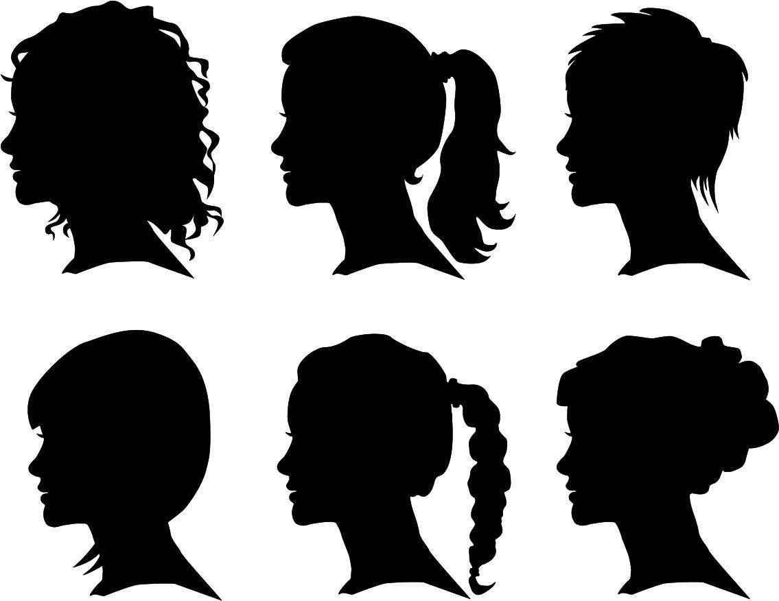 Creative Woman Silhouettes Vector Set Free Vector