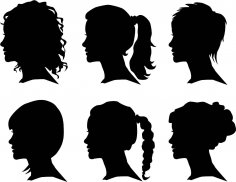 Creative Woman Silhouettes Vector Set Free Vector