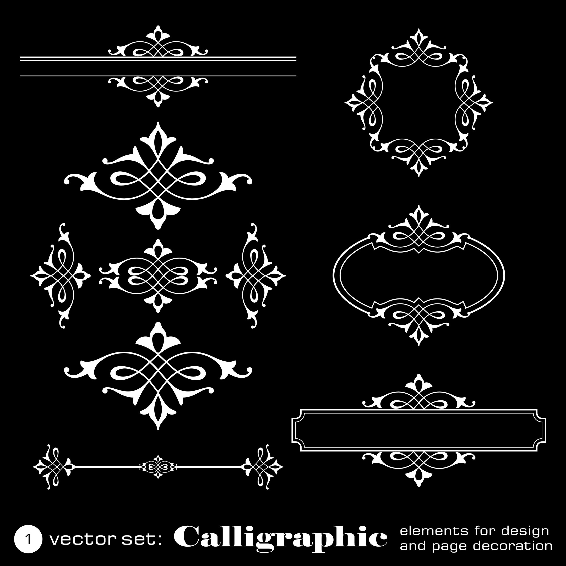 Calligraphic Elements Free Vector