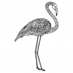 Flamingo Zentangle Stylized Free Vector