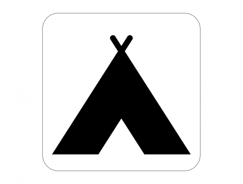 Camping Road Sign dxf File