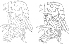 Indian Bear Headdress dxf File