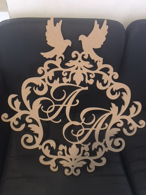 Wedding Emblem With Monogram And Pigeons Free Vector