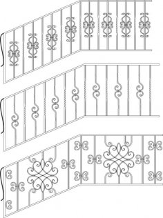 Wrought Iron Stairs Railing Free Vector
