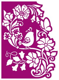 Floral panel with bird cnc router laser cutting CDR File