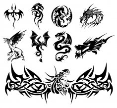 Dragon Tattoo Vectors Free Vector
