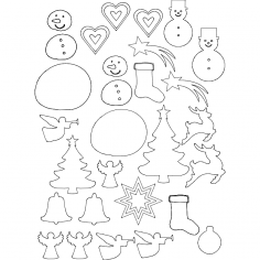 Xmas cut patterns dxf File