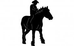 Cowboy On Horse 2 dxf File