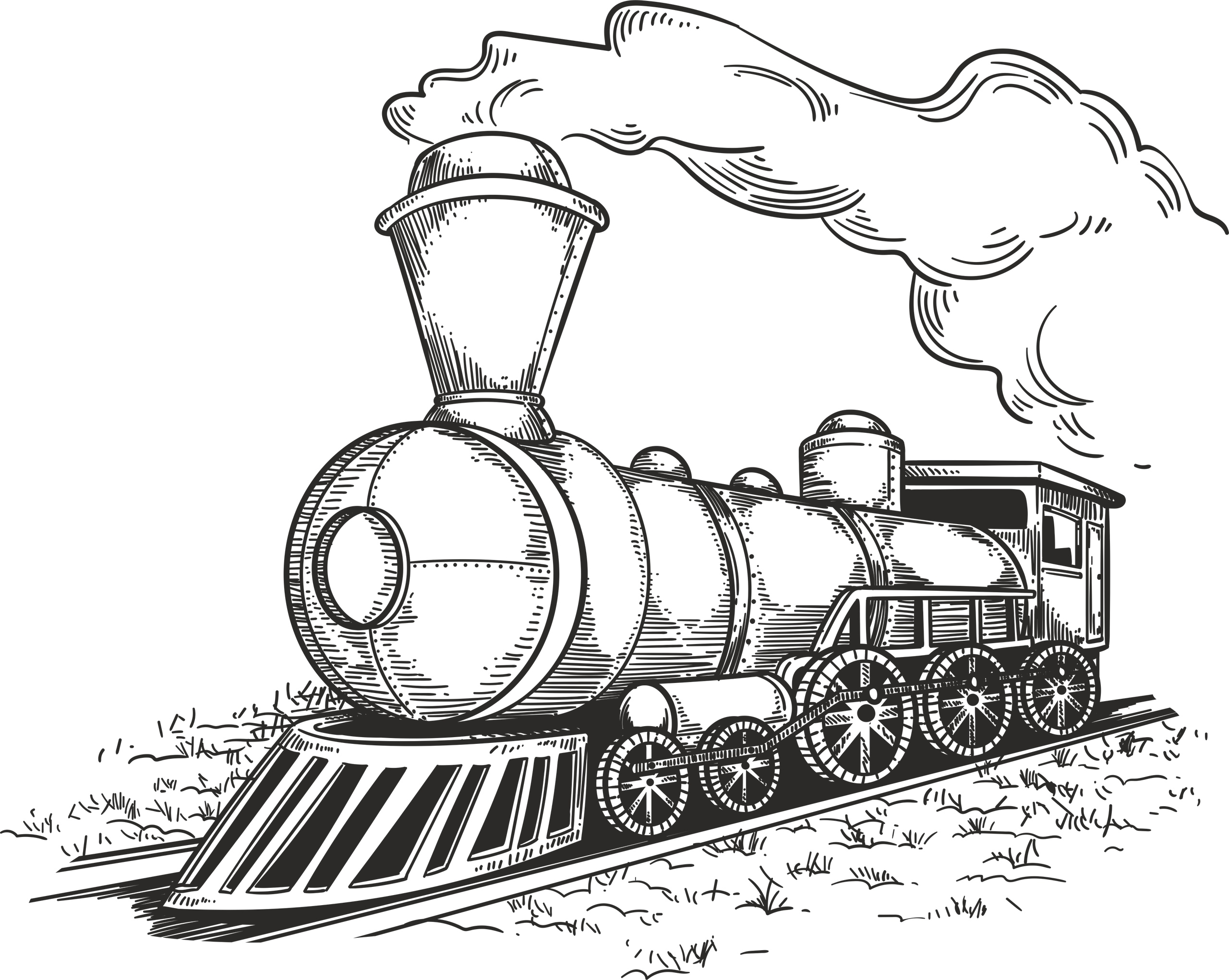 Retro Locomotive Free Vector