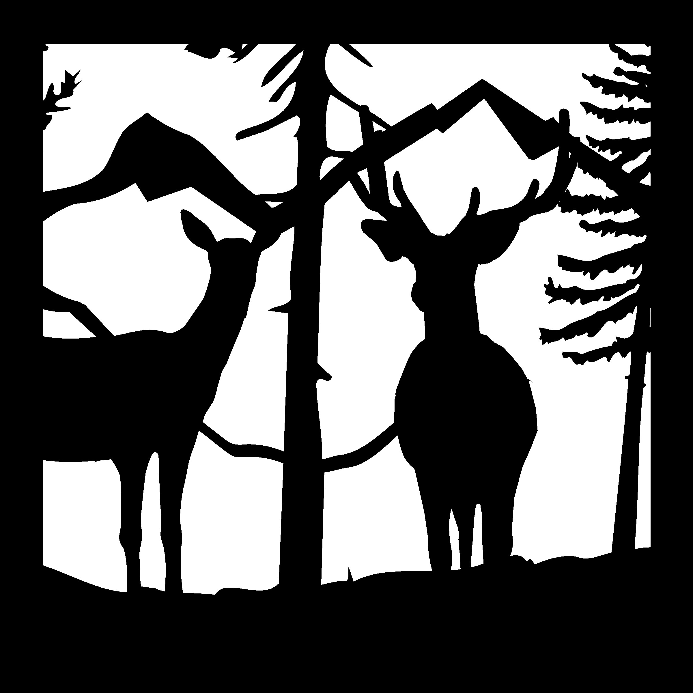 24 X 24 Buck Doe Mountains Ready Plasma Cut DXF File