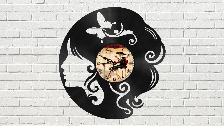 The Head of a Girl Vinyl Clock Free Vector