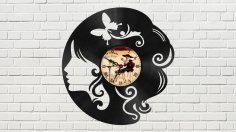 The Head of a Girl Vinyl Clock Free Vector