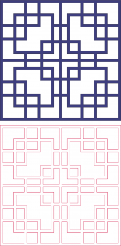 Square Pattern Vector Art DXF File
