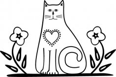 Cat with Flowers Free Vector