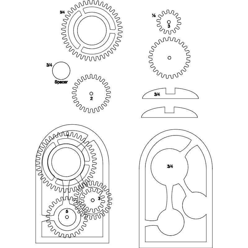 Wooden gear clock dxf File