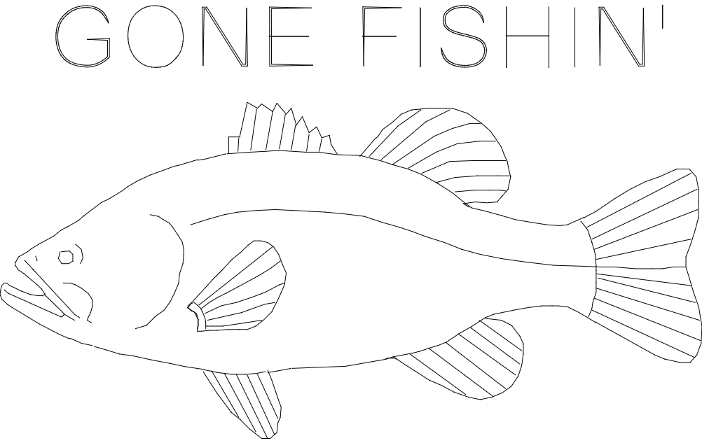 Bass gone fish in final dxf File
