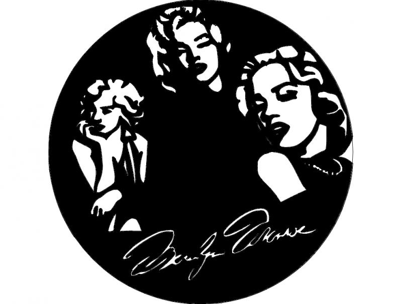 Marilyn clock dxf File