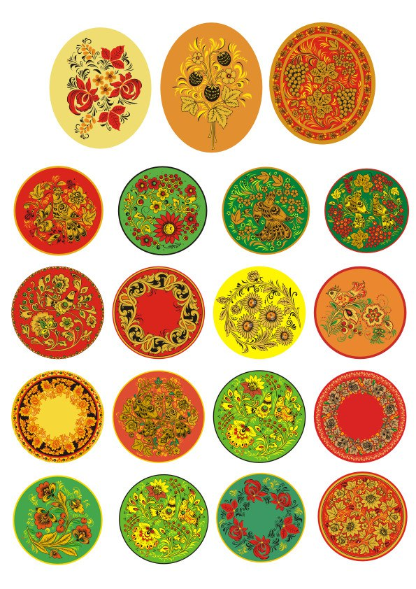 Russian Khokhloma Pattern Circle Vector Set