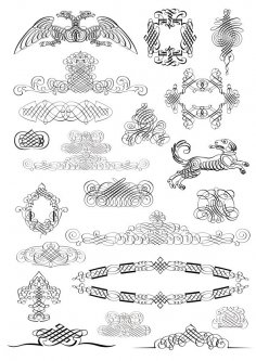 Set of Calligraphic Design Elements Free Vector