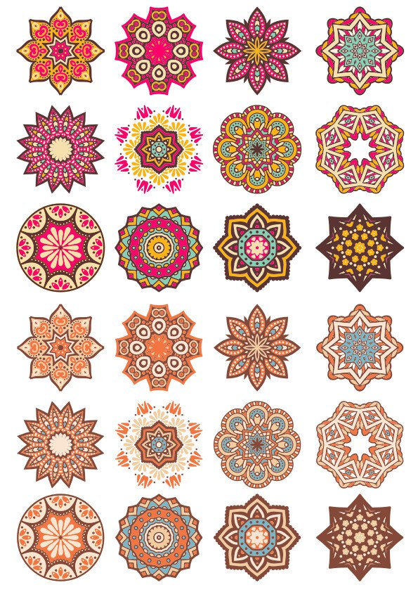 Mandala Pattern Doodle Round Ornaments Free Vector