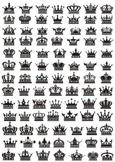 Crowns Silhouette Set Free Vector