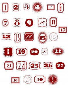 1 to 31 Numbers Art Free Vector