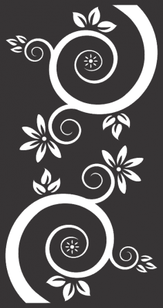 Vector Flowers And Swirls Black Free Vector