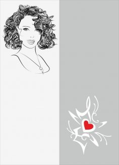 Sketch Of Stylish Young Girl Sandblast Pattern Free Vector