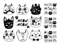 Doodle Cat Illustration Vector Art Free Vector