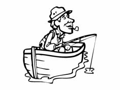 Fisherman with Cigar in boat dxf File